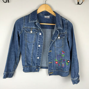 Hanna Andersson Sz 140 (8-10) embroidered jean jkt